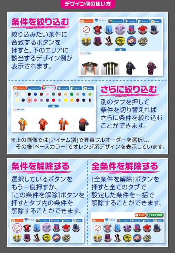 デザイン例の使い方の操作方法を図説した画像
